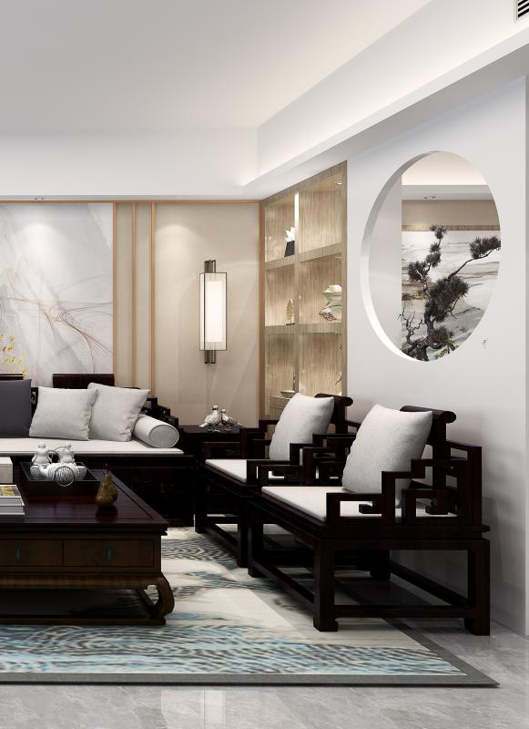 沙发侧面背景+中国圆(画中画-虚拟空间-空间意境)细节: