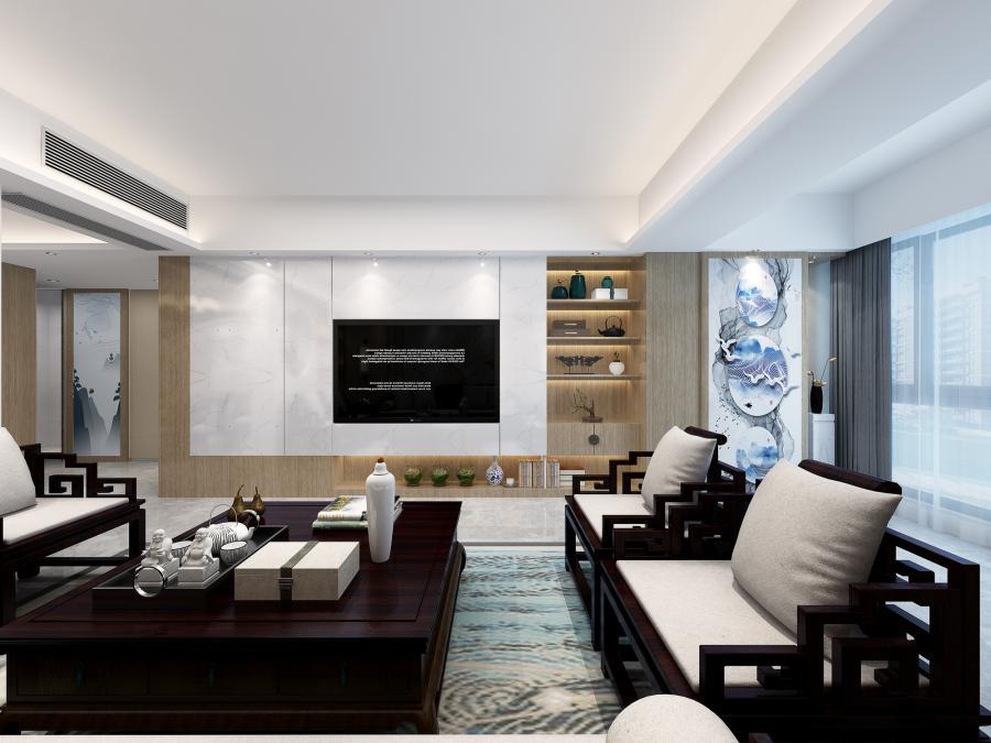 客厅角度01:  客厅背景形成一个L型的连贯手法(说它对称它不对称,说它不对称貌似又有对称手法-整体以大气又不缺少文化气息的感觉)入门显的大气又不缺少该有的视觉效果