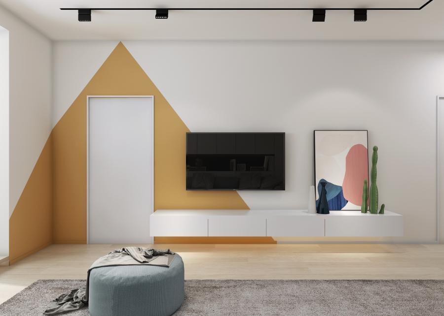 黄色三角趣味横生,留白处似一扇门,使人忍不住想一探究竟。   艺术画与小物件使客厅看上去更加活泼。   此间休憩,更是放松,任意一块空间,都不失为拍照的好背景。