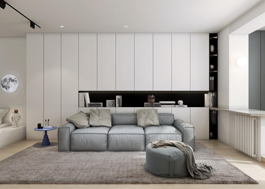 客厅以沙发和收纳为主,蓝色小圆桌代替传统的茶几,增大了客厅活动的空间;淡绿色的圆沙发,为素朴的客厅增加一丝生气。   沙发背后的白色柜子,不仅在起到清静视觉的作用,又兼具收纳的功能,T造型摆放些书,艺术气息扑面而来。
