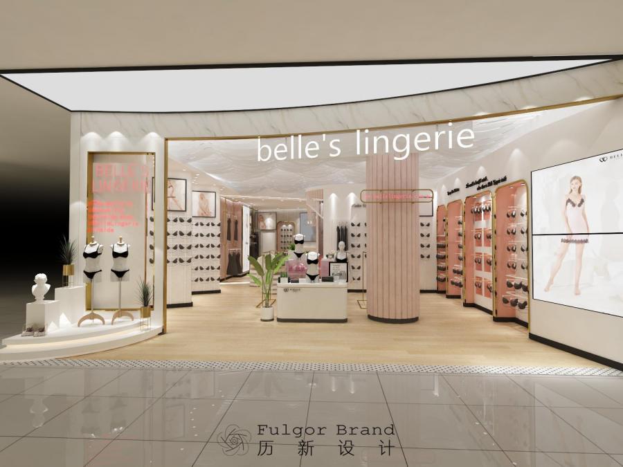 ▲belle 's lingerie店铺门头设计  品牌定位是比较时尚、中高端的,无钢圈内衣正是是新时代的内衣的体现,所以在店铺设计上也会用一些新时代元素来点缀。