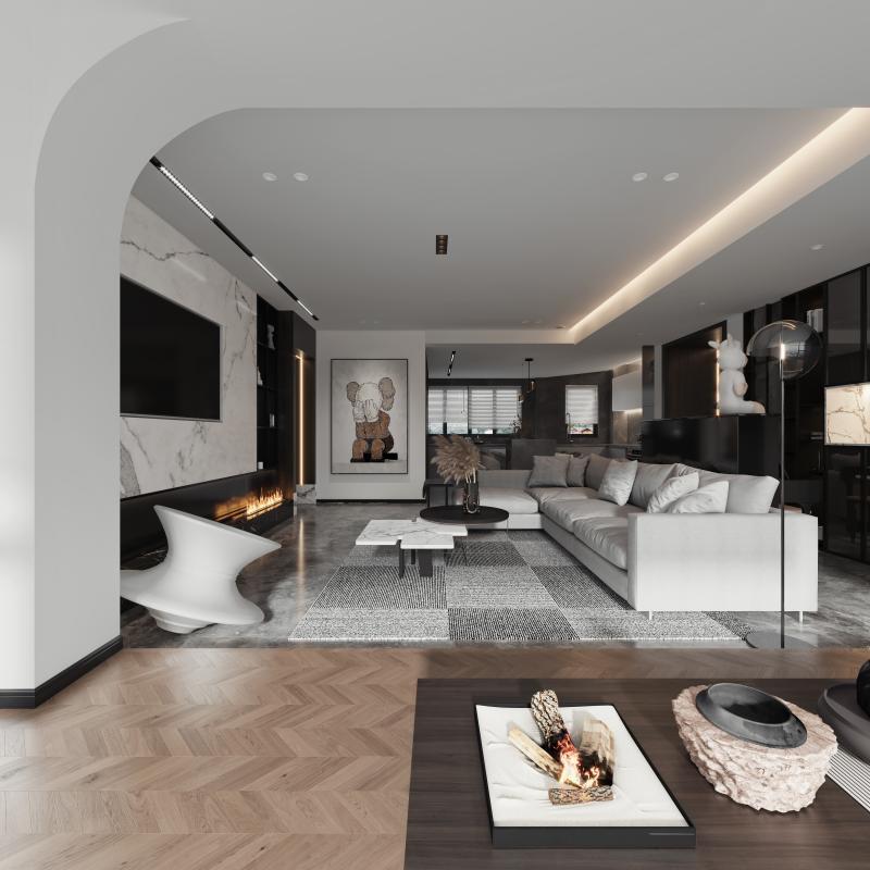 客厅采用灯带,丰富了空间层次。通透的视线感、简洁干净的块面和线条营造出空间的温暖与惬意,在极具设计感的现代空间强调色彩的沉静和造型线条的简洁,让客厅时尚而不失沉稳。茶室区域设计垫高处理手法,丰富空间的层次感,通过自然光线的引入,木质材质融入设计与自然融合使其温暖惬意。