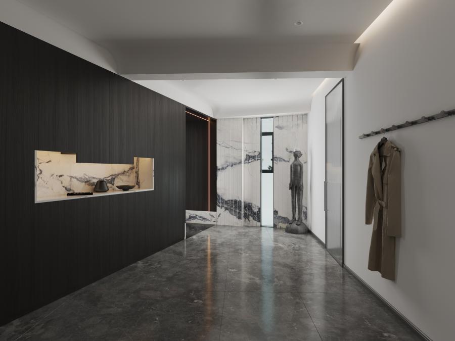 设计师在设计玄关时利用建筑自然光,镂空设计让黯然失色的玄关光芒淋漓,设计弧形吊顶让整个空间简约柔美