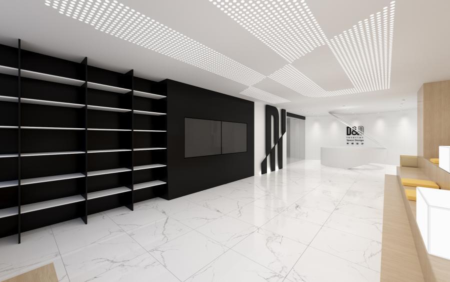 前台设计,圆形招待前台及辅助图形展示区