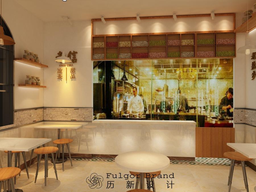 在这里历新将桌子划分整齐,让空间看起来干净整洁,使用黄色灯光,不仅增加了顾客的食欲,同时让消费者感受到传统手艺的韵味。