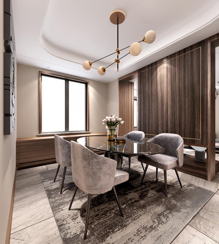 和客厅连在一起的半开放餐厅,增加了私密感同时也增加了与客厅的互动。