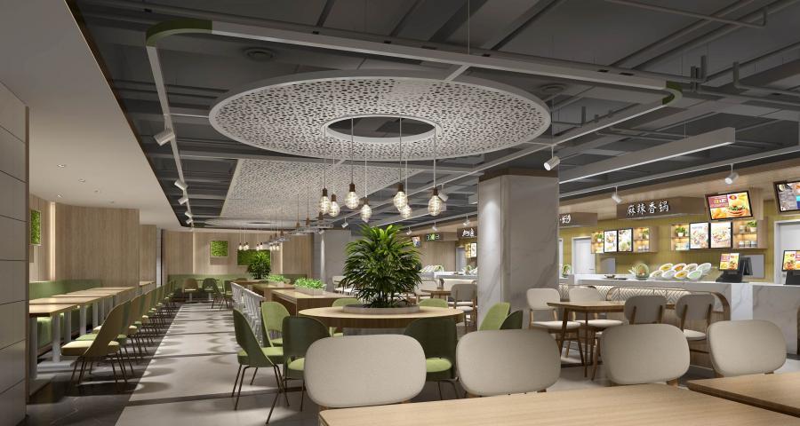 """金枫设计将""""一步一景、移步换景""""的巧妙构思运用到美食广场设计当中,从奇幻瑰丽的科幻之景到简约时尚的工业风只需换个视角,过渡区域依然流畅自然。天花保留原顶,做了工业风的喷黑处理。金属质感的银白色圆盘上悬挂着几盏玻璃吊灯,圆木桌上的绿植在灯光的照耀下青翠欲滴。整个空间没有采用冗杂的装饰,仅以淡绿色的墙壁、统一的木色眉头与大理石吧台彰显简约优雅,营造出沉静舒适的用餐氛围,在细节处体现设计师不凡的时尚品味。"""
