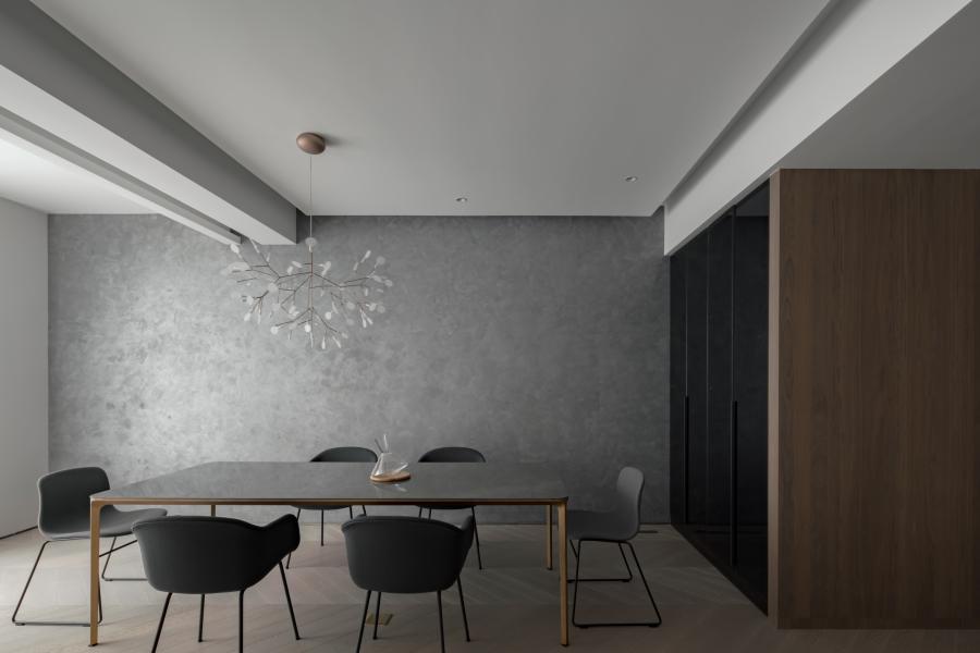 艺术漆在餐厅使用,丰富空间层次,也将至简延续。