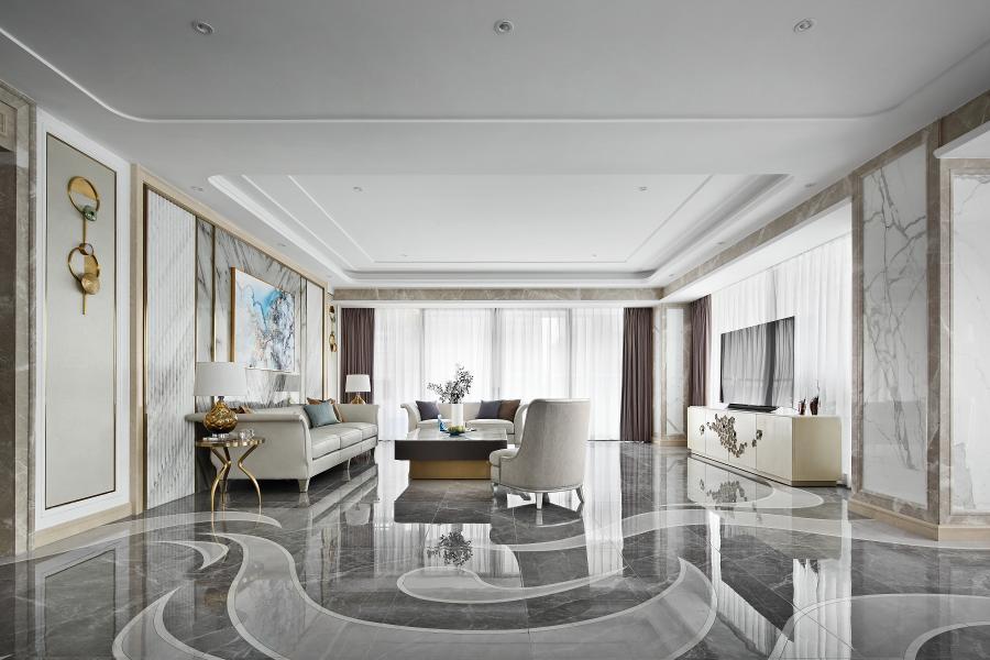 曲线拼花砖取意凤凰的尾巴,演绎出温馨、雅致的居住空间,既跃动着空间气场,又升华了现代空间的调性。