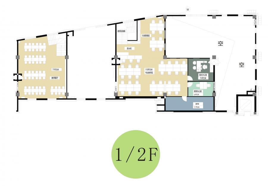 2.夹层平面布局图 该位置与大堂关系密切,设计者将教师的办公区域置于此。主要因为,老师一般分布于教室,行政人员比较方便与大堂互动,便捷,安全。