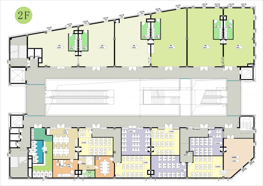 3,二、三层平面布局图 二三层平面布局图依据教学要求设计封闭空间。同时满足幼儿教育和培训教育的功能。特点是有效利用共享空间。