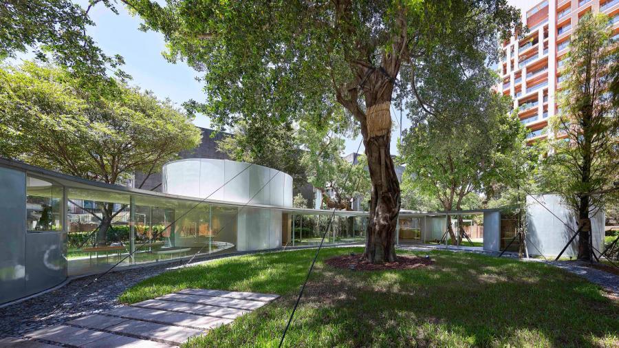 以基地中巨大的老树做为设计的轴心,各空间环绕其配置,树木的阴影自然成为最好的遮阳素材!