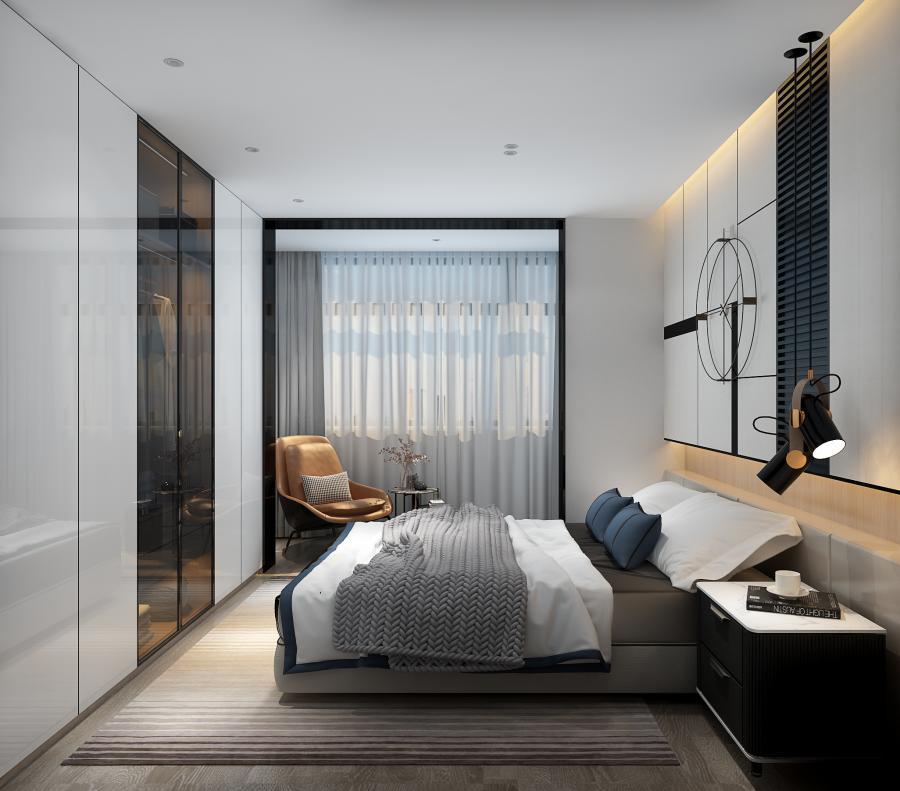 对于次卧室的表现,将单一的基调上融入活力的背景墙饰,成为空间特质的跳动,能摩擦出更多生活的火花,在这里可以获得有趣的归属感。
