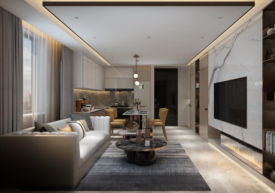 客厅整体简洁明净,简约低调的质感美,充盈在每一个角落。以中性灰为主调,结合大理石和木材的自然纹理走向,大理石材的运用,为这个低奢、温暖的空间,升华空间的格调与档次。让空间背景兼顾美观舒适的同时,植入安静纯粹的精神观感。