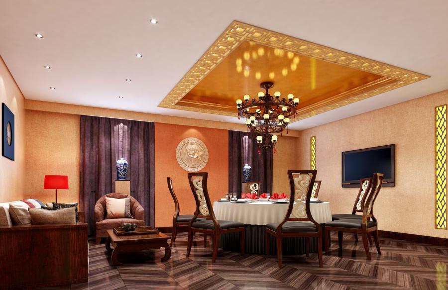 吊顶设计通过中国传统纹样回纹将空调风口作了处理,美观大方,以金色和金咖色惯穿整个空间,以舒适为主,拼花地板和暖暖的灯光让普包充满温馨感