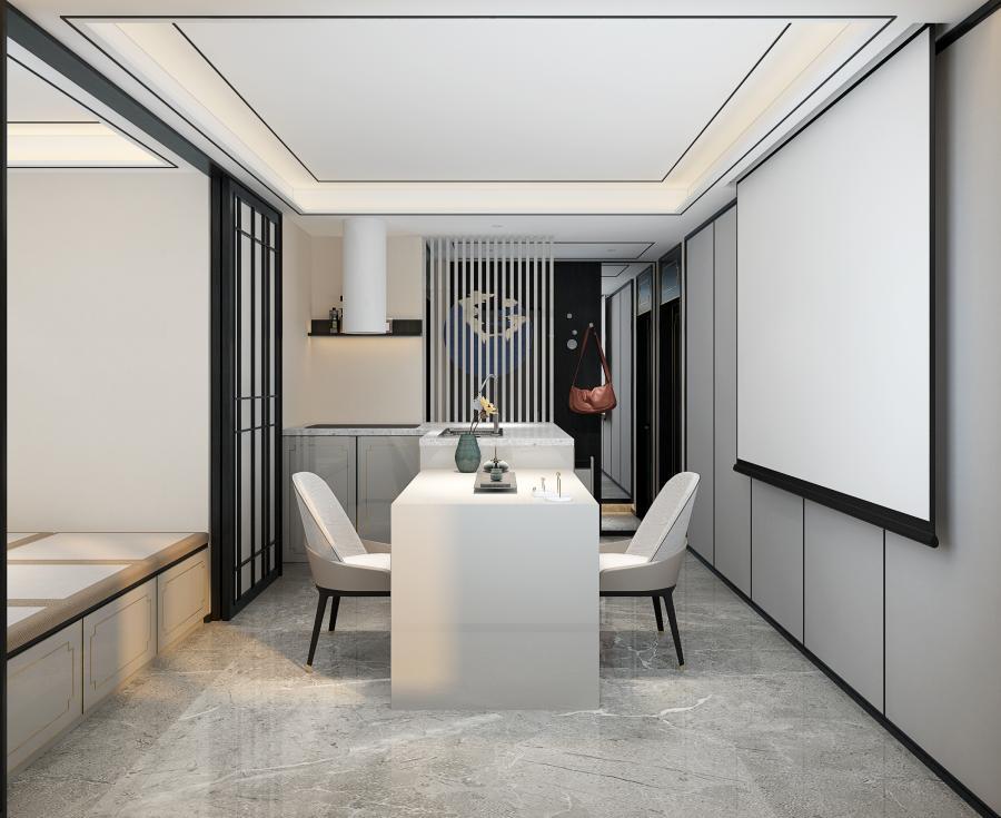 因为空间条件的限制,设计师周文君把客厅餐厅厨房三个功能柔和在了一起,通过吧台加上伸缩餐桌的组合,为厨房和餐厅营造了场地,榻榻米和推拉移门加上幕布,营造了一个客厅空间,每个空间都是相对独立,却又是和其他的空间密不可分的。灰色大理石地砖,搭配墙面软包装饰,无主灯设计的造型吊顶,营造出一个富有传统文化底蕴的新中式风格。