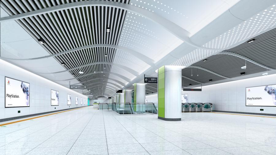 深圳地铁6号线标准站(梅林关站)站厅装修效果
