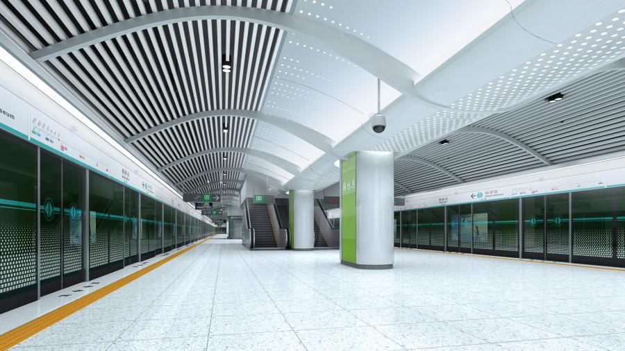 深圳地铁6号线标准站(梅林关站)站台装修效果