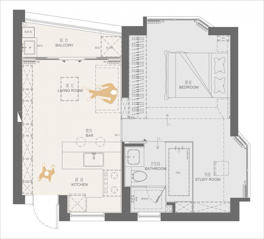 ▲平面布置图 设计说明: 小户型设计,难点在于如何做到小巧精致,满足大量的收纳需求,同时还能很好的保留生活情境和画面感!        设计对空间进行打破重组,将空间规划为公共区域和私密区。公共区满足交流会客,就餐需求。私密区主要是卫生间,书房,卧室功能。卧室设计为台阶式榻榻米床,与飘窗做一个延伸。台阶式设计提供不同情境式的交流场景和视野,同时增加抽屉收纳。卫生间作为一个独立的盒子设计,打破传统的隔墙,改为黑色玻璃,强化区域界线的同时,也提供了视线交流的可能性。不同的空间呈现出不同生活情境,且能够视线无遮挡的交流沟通。