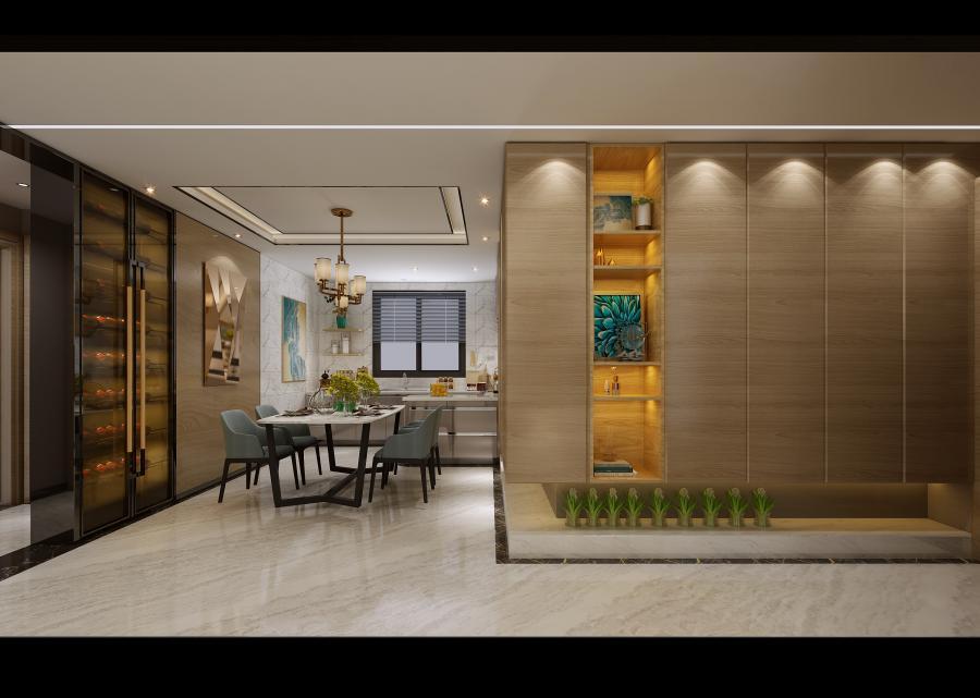 餐厅空间,搭配毫无雕饰的吊灯,线条硬朗的桌椅,使得空间简约与质朴的主题更加明确。