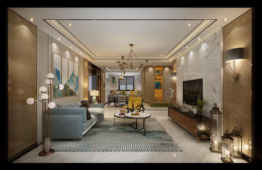 客厅空间,以大气的色彩,使得空间的表现多了几分沉稳大气,与历来文人称道的中庸精神不谋而合。