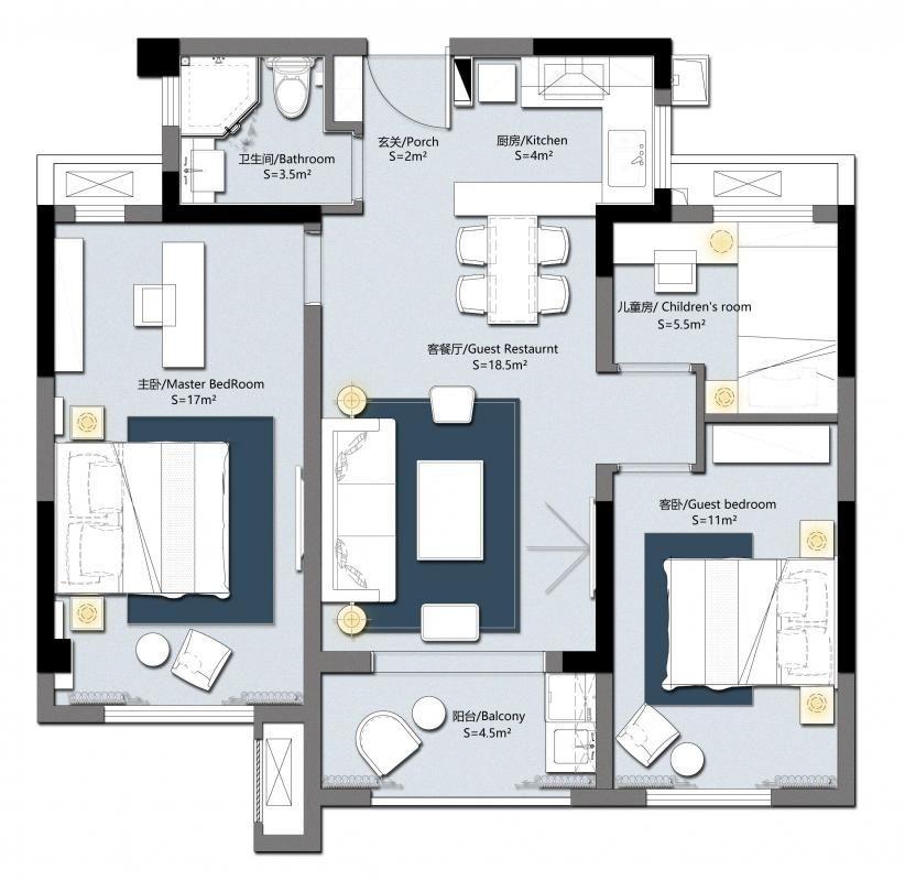 封闭式厨房设计成了开放式西厨,餐桌与吧台相连。 主卧舍弃了一个卫生间改成书房区域,方便日后在家里办公。