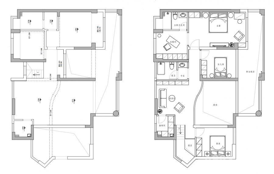 ▲二楼的改造对比