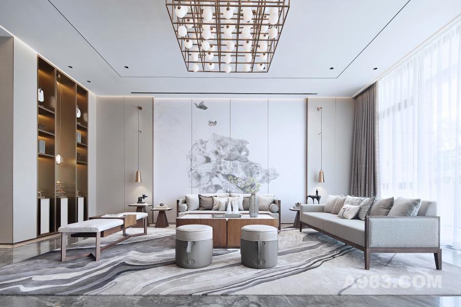 """客厅墙面以""""太湖石""""元素作为空间亮点,仿佛将太湖无限的风光和历史人文气息带入居室,使室内空间显得沉静、韵味、充满灵动,""""虽为人做、宛自天开"""",最美东方莫过如此。"""