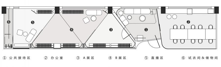 """▲平面布置图 一眼就望的到头平面结构,多种功能怎么能既独立又融合?使用""""之""""字形的动线导向并通过局部遮挡,给人一步一景的空间体验"""